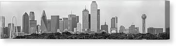 Dallas In Black And White Canvas Print by Jonathan Davison