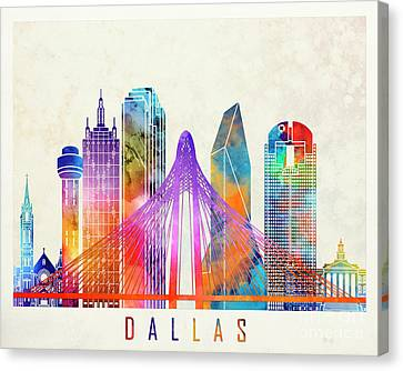 Dallas Landmarks Watercolor Poster Canvas Print by Pablo Romero