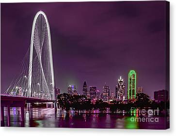 Dallas Lights Reflected Into Overcast Night Skies Canvas Print