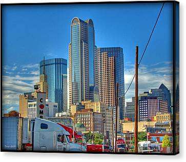 Canvas Print featuring the photograph Dallas Morning Skyline by Farol Tomson