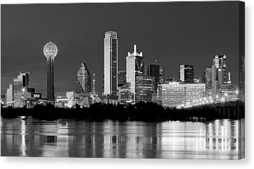 Dallas Night Bw May 2015 Canvas Print by Rospotte Photography