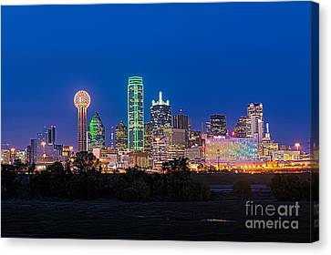 Dallas Cityscape Night  Canvas Print by Tod and Cynthia Grubbs