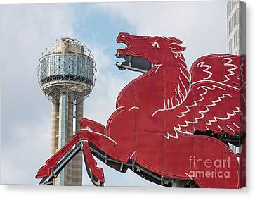 Dallas Canvas Print - Dallas Pegasus And Reunion Tower Daytime by Tod and Cynthia Grubbs