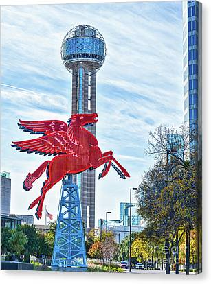 Dallas Canvas Print - Dallas Pegasus With Reunion Tower by Tod and Cynthia Grubbs