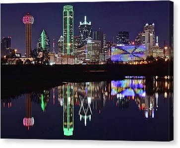 Dallas Reflecting At Night Canvas Print by Frozen in Time Fine Art Photography
