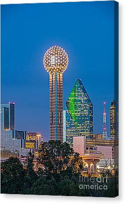 Dallas Reunion Tower Twilight Canvas Print by Tod and Cynthia Grubbs