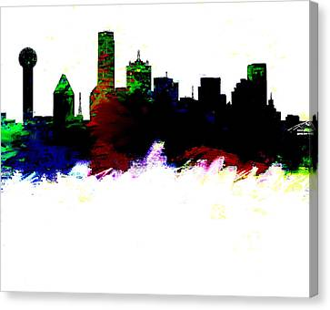 Dallas Skyline 2 Canvas Print by Enki Art
