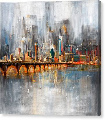 Dallas Skyline 217 1 Canvas Print by Mawra Tahreem