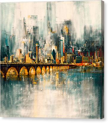 Dallas Skyline 217 3 Canvas Print by Mawra Tahreem