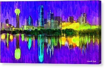 Dallas Skyline Canvas Print - Dallas Skyline 4 - Da by Leonardo Digenio