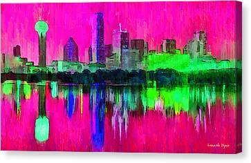 Dallas Skyline 5 - Pa Canvas Print by Leonardo Digenio