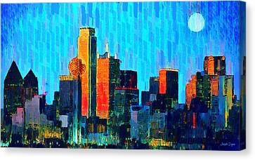 Dallas Skyline 60 - Pa Canvas Print by Leonardo Digenio