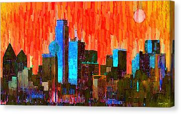 Dallas Skyline 61 - Da Canvas Print by Leonardo Digenio