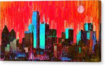 Dallas Skyline 65 - Pa Canvas Print by Leonardo Digenio