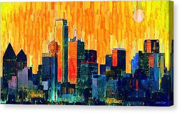Dallas Skyline 66 - Pa Canvas Print by Leonardo Digenio