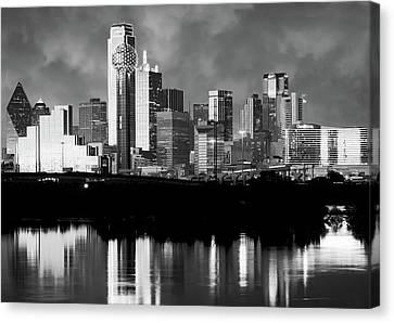 Dallas Skyline 6616 Bw Canvas Print by Rospotte Photography