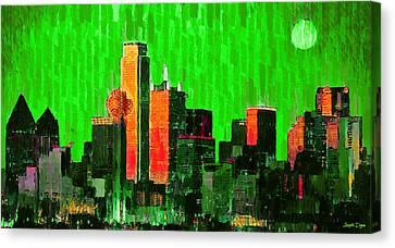Tower Canvas Print - Dallas Skyline 67 - Pa by Leonardo Digenio