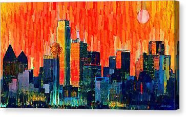 Dallas Skyline Canvas Print - Dallas Skyline 68 - Da by Leonardo Digenio