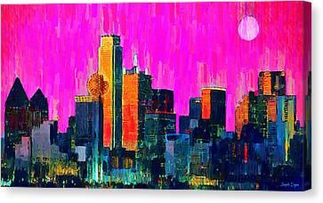 Dallas Skyline Canvas Print - Dallas Skyline 70 - Da by Leonardo Digenio