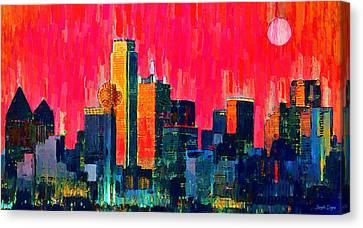 Dallas Skyline Canvas Print - Dallas Skyline 71 - Da by Leonardo Digenio