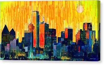 Dallas Skyline Canvas Print - Dallas Skyline 72 - Da by Leonardo Digenio