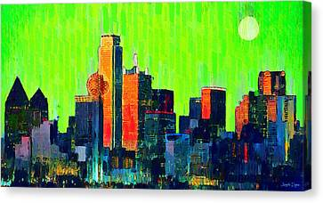 Night Canvas Print - Dallas Skyline 73 - Da by Leonardo Digenio