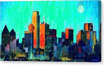 Moons Canvas Print - Dallas Skyline 74 - Pa by Leonardo Digenio