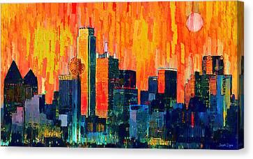 Dallas Skyline Canvas Print - Dallas Skyline 75 - Da by Leonardo Digenio