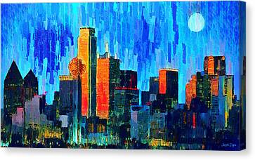 Dallas Skyline Canvas Print - Dallas Skyline 76 - Da by Leonardo Digenio