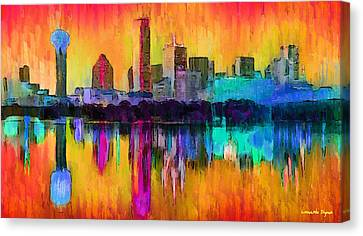 Dallas Skyline 9 - Pa Canvas Print by Leonardo Digenio