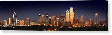 Dallas Canvas Print - Dallas Skyline At Dusk  by Jon Holiday
