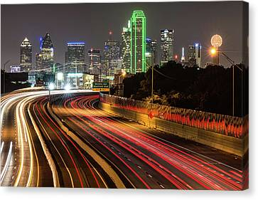 Canvas Print featuring the photograph Dallas Skyline At Night by Gregory Ballos