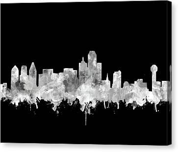 Dallas Skyline Black And White 2 Canvas Print
