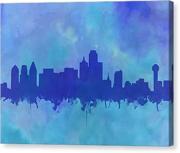 Dallas Skyline Blue 2 Canvas Print