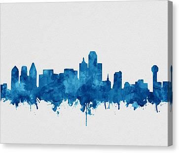 Dallas Skyline Canvas Print - Dallas Skyline Blue by Bekim Art