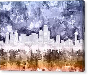Dallas Skyline Brush Strokes 3 Canvas Print