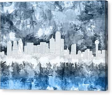 Dallas Skyline Brush Strokes Blue 2 Canvas Print