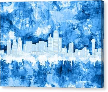 Dallas Skyline Brush Strokes Blue Canvas Print