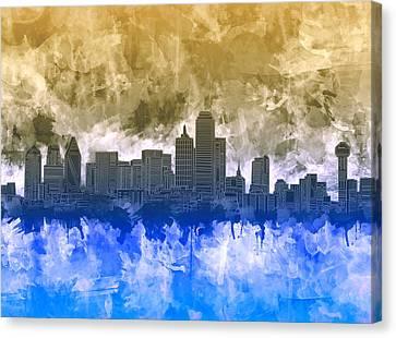 Dallas Skyline Canvas Print - Dallas Skyline Brush Strokes by Bekim Art