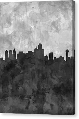 Dallas Skyline Grunge Black And White Canvas Print