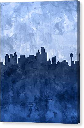 Dallas Skyline Canvas Print - Dallas Skyline Grunge Blue by Bekim Art
