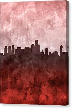 Dallas Skyline Grunge Red Canvas Print