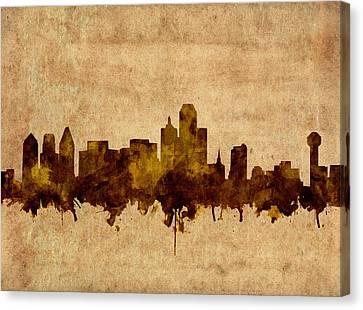 Dallas Skyline Grunge Sepia Canvas Print