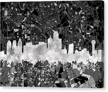 Dallas Skyline Map Black And White 2 Canvas Print