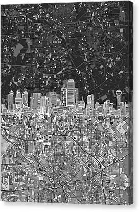 Dallas Skyline Map Black And White 3 Canvas Print