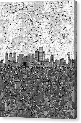 Dallas Skyline Map Black And White 4 Canvas Print by Bekim Art