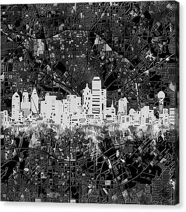 Dallas Skyline Map Black And White 5 Canvas Print