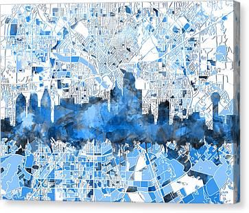 Dallas Skyline Map Blue 2 Canvas Print