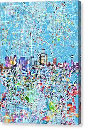 Dallas Skyline Canvas Print - Dallas Skyline Map Blue 3 by Bekim Art