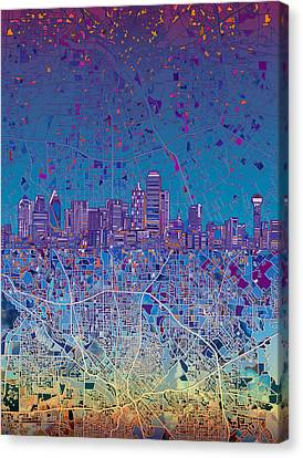 Dallas Skyline Map Blue 4 Canvas Print